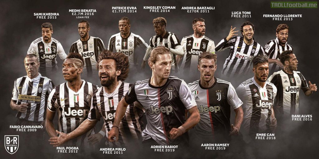 Since 2009 after only spending about £3.5 million combined, Juventus have gotten Cannavaro, Pogba, Pirlo, Ramsey, Can, Alves, Khedira, Benatia, Coman, Barzagli, Luca Toni, Llorente and Rabbiot is almost confirmed