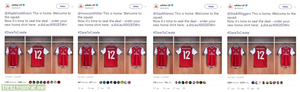 Adidas UK automated Twitter campaign to promote new Arsenal home kit backfires massively.
