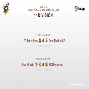 La Liga official fixtures: FC Barcelona will host Real Madrid in the