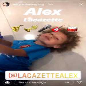 Pierre-Emerick Aubameyang's son, Pierre Jr, chanting Alexandre Lacazette's song. 😂😂 [IG story: willy.aubameyang] #afc