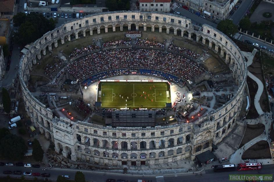 Bayern München 1990s Legends beat Croatia 1998 Legends in the Bayern & Croatia Legends Spectacle final at the Pula Amphitheatre. Croatia