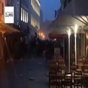 """Apparently, there was a huge fight between the """"fans"""" of Ajax Amsterdam + Cracovia Krakow vs. Levski Sofia in downtown Bratislava, Slovakia. More videos on the FB page I'm sharing. Fucking awful. (None of the clubs play in Bratislava any time soon, Levski play in a different town tomorrow)."""