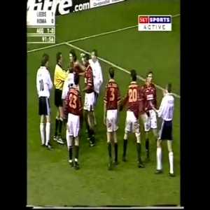 LEEDS VS ROMA 2000, Lovely red card technique by a sarcastic referee after listening to advice from the player.