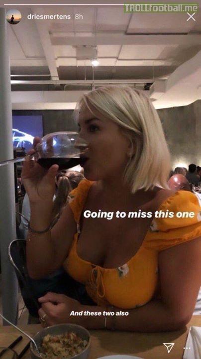 Napoli's Dries Mertens on Instagram 😂😭