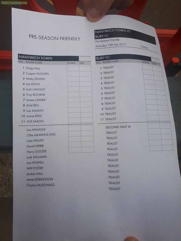 Bury FC's Team sheet for today's pre season friendly