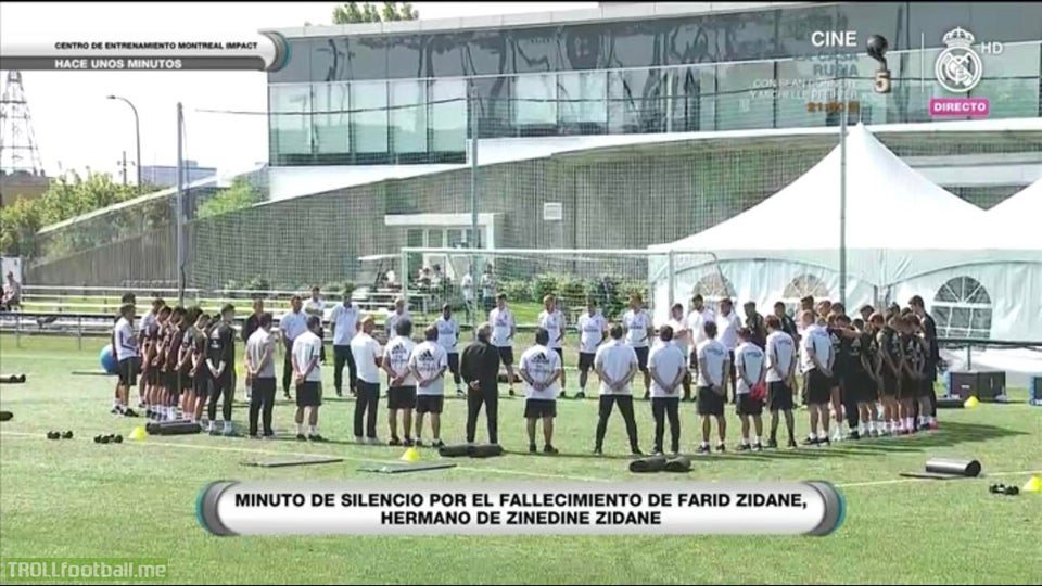 Farid Zidane, brother of Zinedine Zidane, has passed away. The team had a minute of silence before today's training session.