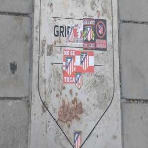 Griezmann's plaque outside the Wanda Metropolitano defaced by Atlético fans.