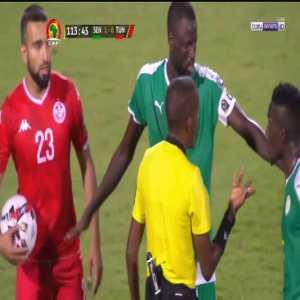 Senegal vs Tunisia VAR reverses penalty call 113' (all replay angles shown)
