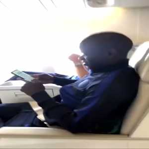 N'Golo Kante on the plane to Japan.