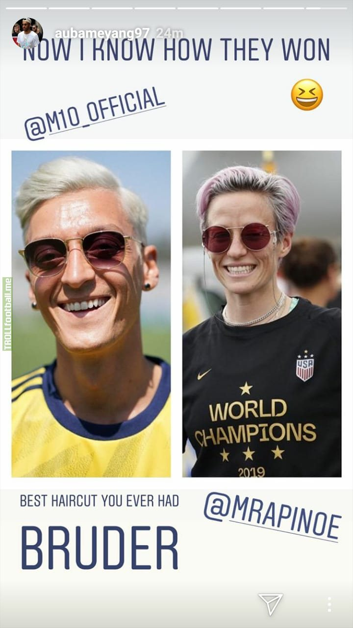 Arsenal striker Aubameyang is making fun of Mesut Özils new haircut by comparing him to Megan Rapinoe