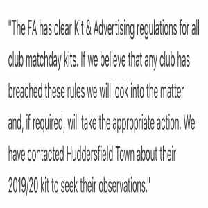 FA contact Huddersfield Town about new heavily branded kit