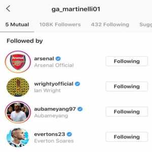 Everton started following Martinelli on IG