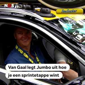 Louis van Gaal explaining cyclists of Jumbo-Visma team how to win in La Tour de France.