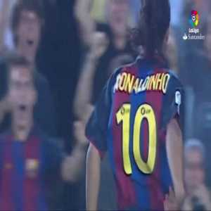 16 years ago today, Barcelona signed Ronaldinho from PSG. Here is his first goal for the club which is one of his best ever
