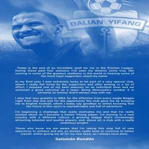 Salomon Rondon's Farewell Message