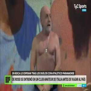 Argentine journalist takes off his shirt on air to show he's as fit as Daniele De Rossi