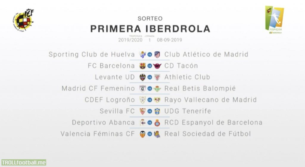 The new season of the women's Primera Division will start on September 8. The league will be renamed to Primera Iberdrola. Barcelona Femení will play CD Tacón/Real Madrid on the first matchday in what will be a womens El Clasico
