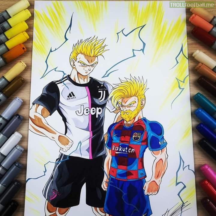 Leo and CR7 as super saiyans! (Original Artist : Tolg Art ; Youtube)