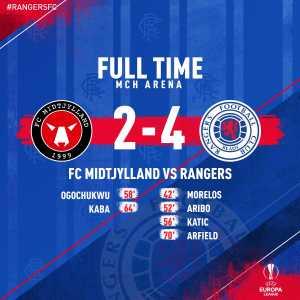 Full time: FC Midtjylland 2-4 Rangers FC