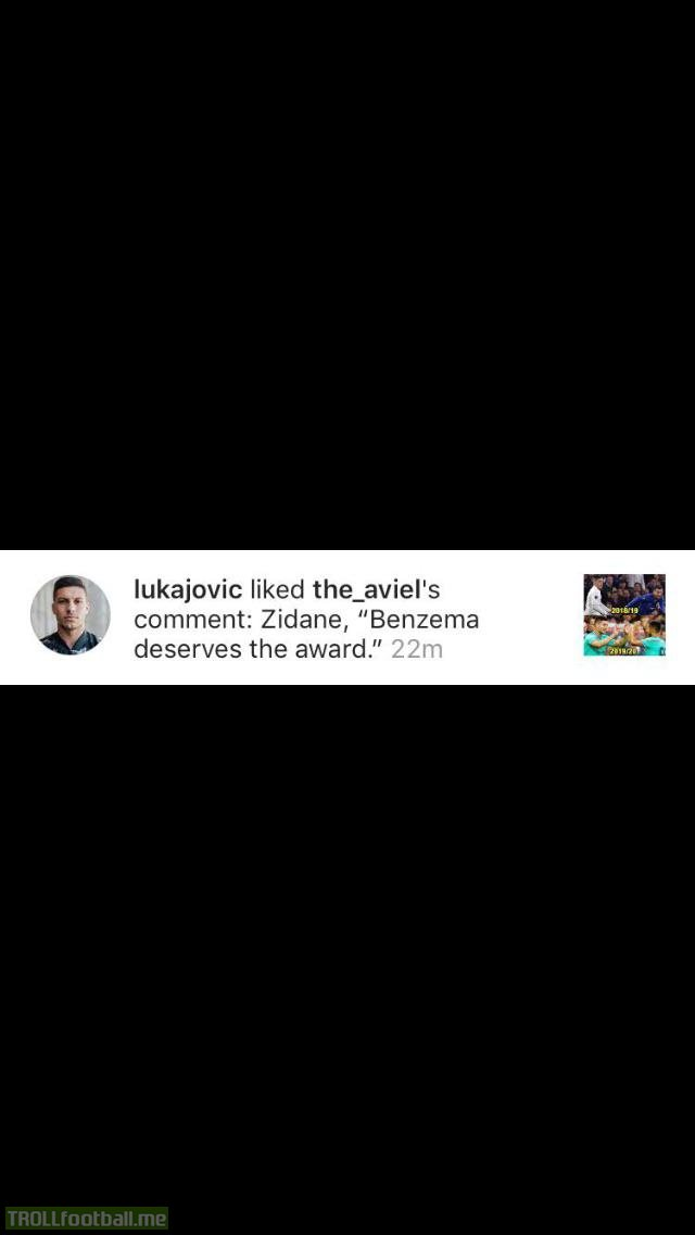 Oopsie by Luka Jovic as he likes a sarcastic comment by this guy commenting this. FYI this was a post saying that Hazard and Jovic have been nominated for Europa League player of the year award.