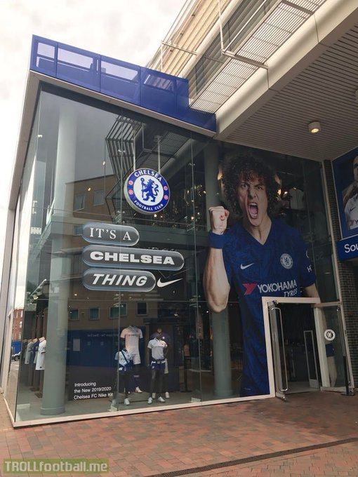Chelsea had just finished changing the face of their megastore from Eden Hazard to David Luiz. Life comes at you fast.