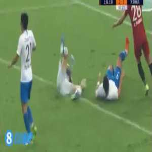 Sandro Wagner's reckless high boot on Shanghai SIPG goalkeeper Yan Junling today.