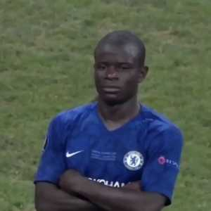 Kanté's reaction to Liverpool's UEFA Super Cup win against Chelsea on penalties