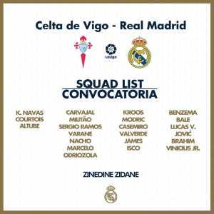 Official: Zidane includes both James Rodriguez and Gareth Bale in squad list for Saturday's Liga opener @ Celta Vigo