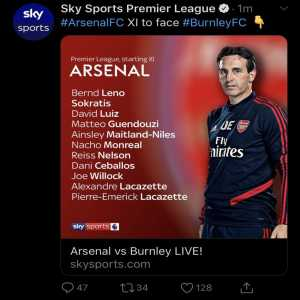 Sky upload wrong graphic with name Pierre-Emerick Lacazette