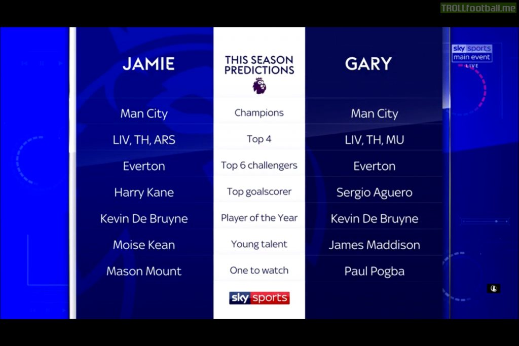 Gary Neville & Jamie Carragher EPL Season Predictions