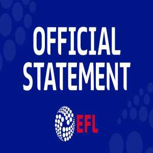 EFL statement regarding Bury: Next game suspended, details how the league will work if/when Bury are expelled from the league.