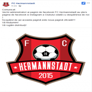 Hermannstadt signed Kevin Rimane from PSG tonight. It's not all good news in Sibiu, though. The former Facebook and Instagram page admin just left the club and decided to DELETE all the club's social media accounts.