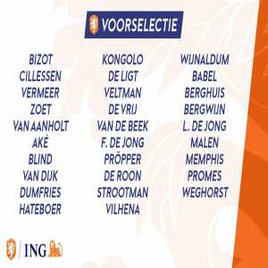 Netherlands preliminary squad for the Euro qualification games against Germany and Estonia