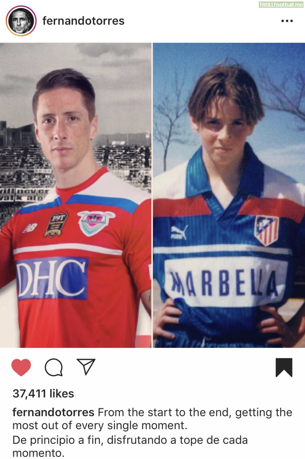 Fernando Torres finishes his career in a jersey like the one in which he started his career