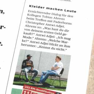 """Tobias Ahrens (11 Freunde Magazin) met with SC Paderborns Antwi-Adjei (25) for an interview. He asked the Bundesliga player which things he bought of his first salary. """"I like Fashion"""" he replied. Ahrens: """"Which brand?"""" Antwi-Adjei then looks at Ahrens' clothes and says: """"You wouldn't know them."""""""