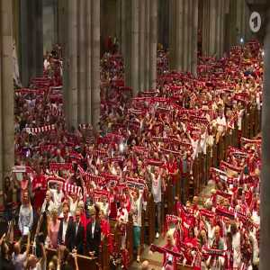 4500 FC Köln supporters singing their hymn in the town's cathedral before their game against Dortmund