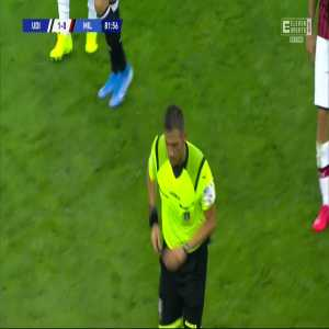 Milan penalty shout. Ruled out by VAR.