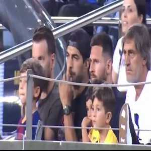 Messi and Suarez react to Mateo Messi cheering for Betis scoring against Barcelona