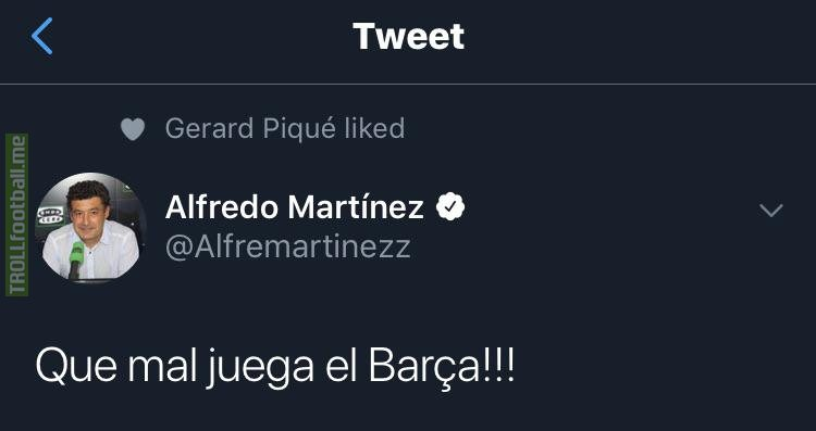 Piqué likes a tweet that criticizes how Barca play