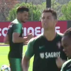 Cristiano Ronaldo had a good sniff of Renato Sanches' hair in training today