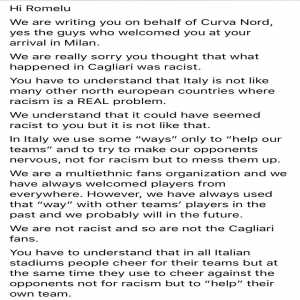 Inter's ultras in a statement support Cagliari's racist attack on Lukaku.