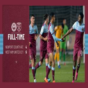 West Ham u21 were 4-1 down to Newport County at half time and then came back to win 4-5 in the Leasing.com Trophy
