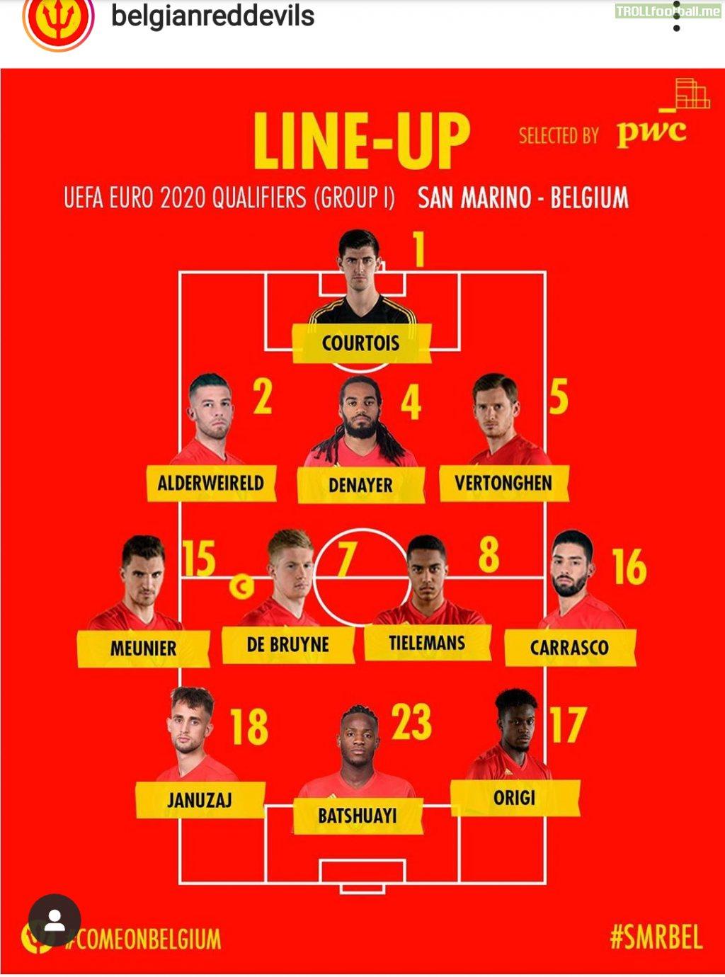 How Belgium lines up vs San Marino
