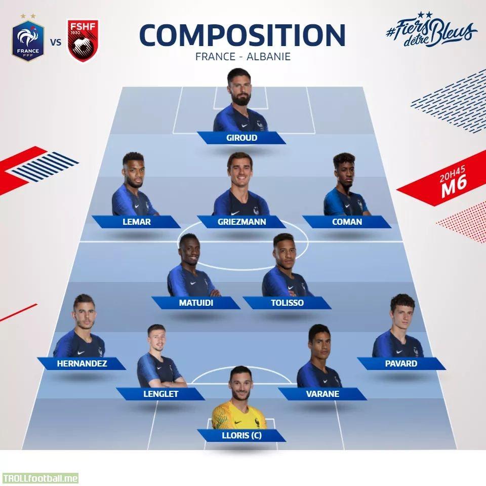 France Starting XI vs. Albania