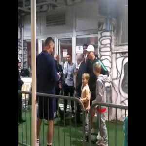 Nemanja Matic waited outside Portugal's dressing room with his kids after yesterday's game to take photos with Cristiano Ronaldo. Dream fulfilled for his children as they met their idol.