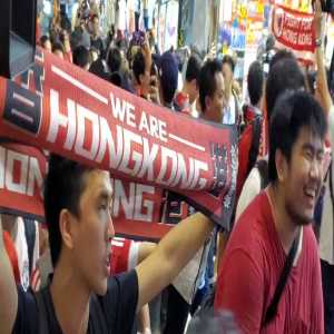 """Hong Kong plays Iran in today's WC qualifier. Fans are taking this opportunity to """"protest"""", dressing in black and red to oppose police brutality."""