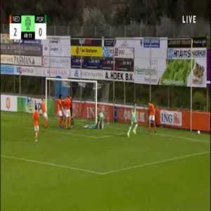 Mees Bakker (Netherlands U19) penalty save against Fábio Silva (Portugal U19) 50'