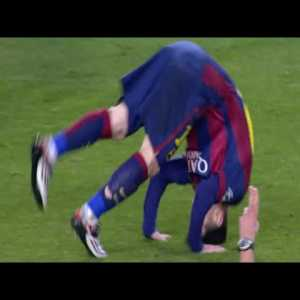 Lionel Messi Does A Forward Roll