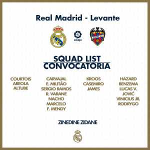 Madrids squad for tomorrow's game against Levante. James just returned from injury, Casemiro just returned from the national team.