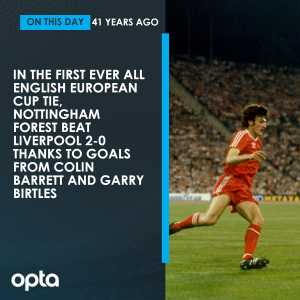On this day in 1978, the first ever all-English European Cup tie takes place, with league champions Nottingham Forest beating European Cup holders Liverpool 2-0 at the City Ground.